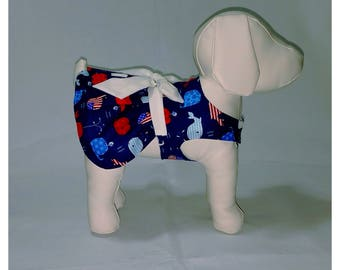 Patriotic Whales Dog Dress - Dog Clothes Pet Clothes