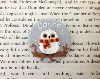 Personalised Hedwig from Harry Potter Name Badge - Handmade Polymer Clay