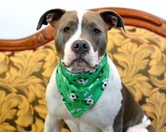 I WOOF YOU St. Patrick's Day Watercolor Clover Dark Green - reversible pet bandana - dog bandana - cat bandana - unique pet accessory