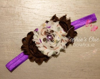 purple headband~infant headband~toddler headband~shabby headband~baby headband~hair accessories for babies~newborn