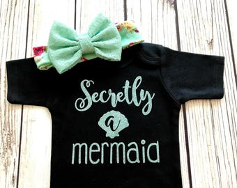 Secretly A Mermaid Baby Girl Bodysuit Outfit Black and Mint