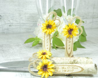 Wedding Champagne Glasses Sunflower Wedding Glasses Wedding Rustic Toasting Flutes Lace twine,Rustic Toasting Glasses and Cake Set