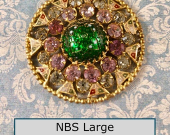Gorgeous 19th Century Enamel and Jewel Button NBS Large Art Glass Center Stone, Prong Set Pink & Pale Green Pastes