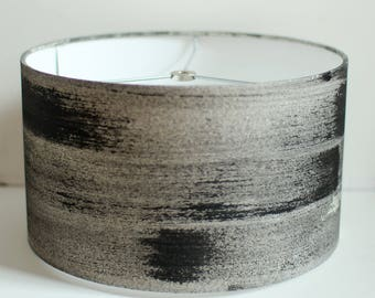 """12"""" diameter 7"""" height - Small, White, Grey, Black - Muslin Drum Lamp Shade Hand Painted Ready to Ship"""