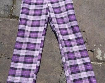 Vintage DEVILLE 70s 80s High Waist Northern Sole Tartan Plaid 50s Trousers Wide leg Purple Black Square Stripe S
