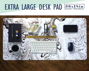 Suminagashi Print Extra Large Desk Pad with Available Custom Monogram - Extended Mouse Mat - 36x18in