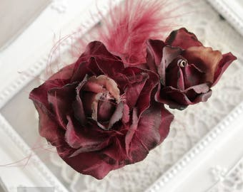 Red Hair Flower Clip, Hair Accessories, Gothic Hair Flower Clip, Red Rose Hair Flower, Red Rose Fascinator, Pin Up Clip Realistic Red Rose