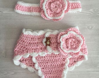 Babygirl diaper cover with headband