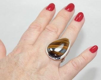 Natural Tiger Eye 925 Silver Ring