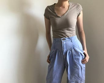 Vintage Lee Jeans Periwinkle Blue 100% Cotton High Rise Pants Made in USA 23x29