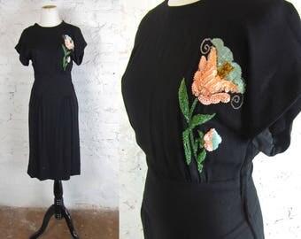 Vintage 1940's Beaded Rayon Dress