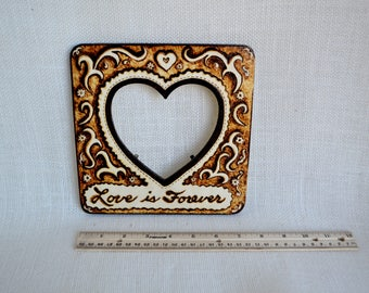 Woodburning Gift, Woodburned Picture Frame,  Valentine Gift, Heart Frame, Love Sign