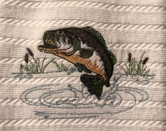 Embroidered Lrge. Mouth Bass Kitchen Towels.