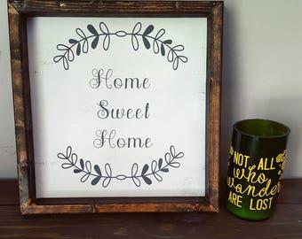 """Framed Wood Sign, Home Sweet Home Sign, 12"""" x 12"""" framed wood Sign, Framed Wall Decor, Wood Sign, """"Home Sweet Home"""""""