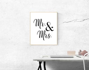 Mr and Mrs. Typography Print, Wedding Gift, Wedding Art, Couples Gift, Love Poster, Black and White Digital Art, Wedding Print, Home Print