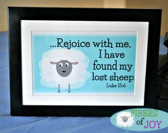 Lost Sheep Printable Art | Scripture Art | Instant Digital Download | Luke 15:6