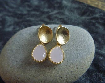 Golden Earrings: pink Crystal