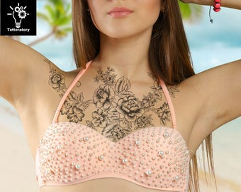 Temporary Tattoo Sleeve for Women Chest Temporary Tattoo Peony Tattoo Chest Tattoo Large Floral Tattoo Large Flower Tattoo Rose Tattoo