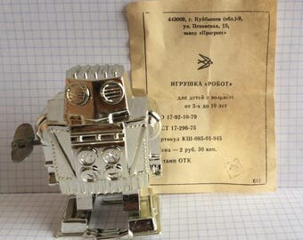 "Vintage Russian Ussr PLASTIC MECHANICAL Toy Doll ""ROBOT"" 1980's"