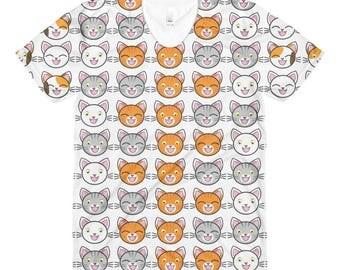 Funny Cat Sublimation women's crew neck t-shirt - Funny cat t-shirt - Funny cat tshirt - Funny cat t shirt