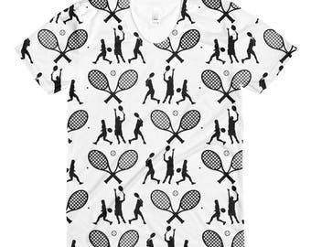 Tennis Sublimation women's crew neck t-shirt  - Tennis t-shirt - Tennis shirt - Tennis t shirt - Gift for Tennis