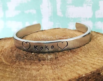 Children's Bracelet, Child's Name Bracelet, Cuff Bracelet, Handstamped, Children's Jewelry, Kid's Bracelet, Kid's Jewelry, Heart Bracelet