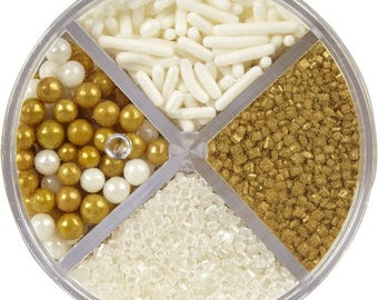 Gold White Pearlized Sprinkles Mix Edible Sugar Decoration Beads - FREE SHIPPING
