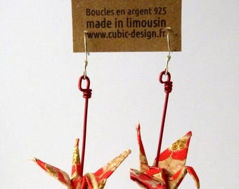 Golden red origami crane earrings