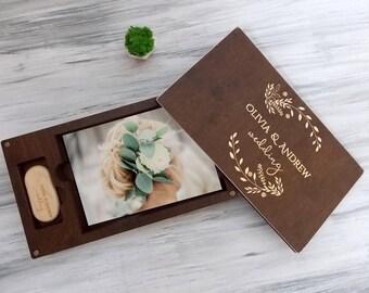 Wedding Photo Box Wedding Memory Personalized Keepsake Box Wood Photo Box Engraved Wedding Photo Memory Box USB Drive Personalized Photo box