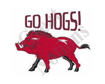 Razorback Go Hogs - Machine Embroidery Design
