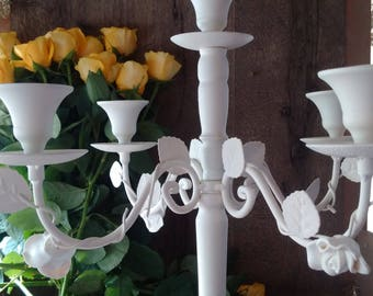 STUNNING WHITE CANDELABRA with 5 Holders // White Toleware Large Candle-holder // Perfect Wedding Table Decoration // Pure White Candelabra