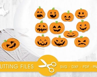 Pumpkin Faces cutting files, svg, dxf, pdf, eps included - cut files for cricut and silhouette - Cutting Files SVG