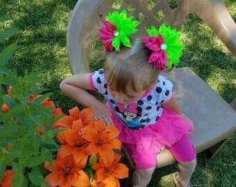 Flower hair bows, For girls, Chrysanthemum bows, Green bows, Flower Ponytail holders, Dance recital, Pageant, Pink, Ruffles, Kanzashi