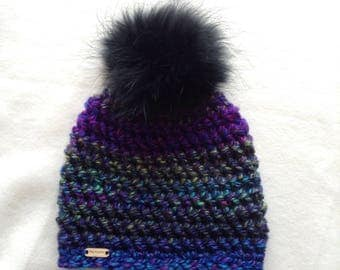 Hat crochet, chunky knit and large, double, fur Pom Pom, purple