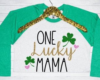 One Lucky Mama Adult Women's Raglan, Saint Patricks Day Shirt, Raglan Shirt, St Pattys Day Unisex Raglan Tshirt