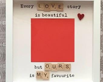 Birthday anniversary valentine gift-for the one i love-photo scrabble art frame-wife husband partner boyfriend girlfriend love-christmas