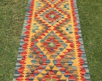 Article # 5378 VEGETABLE DYED Hand Made Chobi Kilim Runner Rug Double Face Design 185 x 60 cm - 6.0 x 2.0 Feet