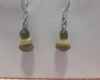 Green and beige earrings
