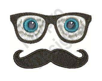 Glasses & Moustache - Machine Embroidery Design