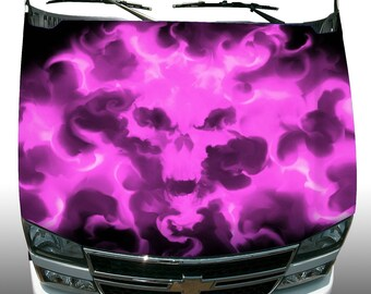 Pink ghost skull flame fire vehicle hood wrap sticker vinyl graphic decal