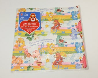 Vintage Care Bears Wrapping Paper in Original Packaging - gift wrap; children's; collectible; 1970's; 1980's; rare; OOAK; all occasion