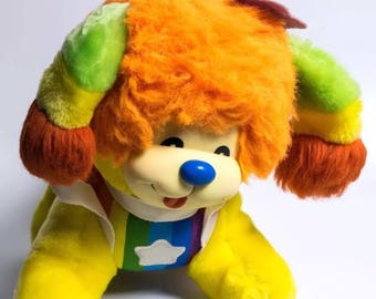 Vintage 80s rainbow brite puppy stuffed plush animal dog retro 1983