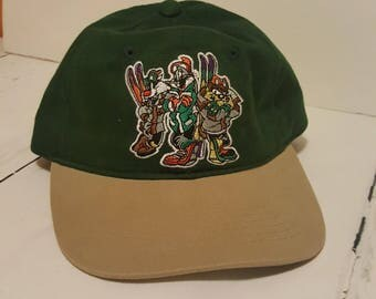 Looney Tunes Green Dad Adjustable Hat Bugs Bunny Taz Sylvester Skiing