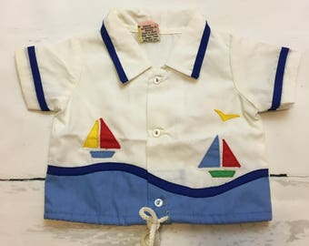 Vintage Baby Sailboat Button Down Shirt Size 0-3 months