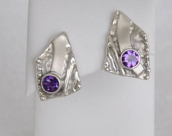 Silver Textured and Amethyst Post Earrings