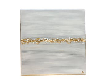 Abstract Painting, Impasto Painting, Foyer Table Painting, Gray and Gold Abstract Canvas Painting, Entryway Art
