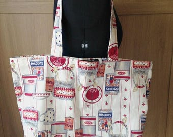 On sale Cotton canvas shopper - kitchen print