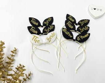 Bunny ears Bachelorette headband Bridal headbands, HEADBANDS, Bride headband, Team Bride Tiara, Bridesmaid, Maid of Honor Tiara, BRIDE B
