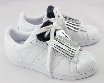 Silver leather sneakers for fringe