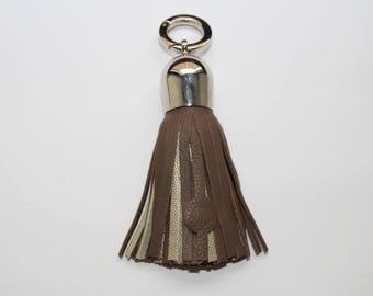 Bi-color genuine leather tassel!